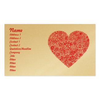 Flocked Heart - Gold Business Card Template