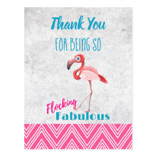 Flocking Fabulous Pink Flamingo Pun Party Thanks Postcard
