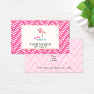 Flocking Fabulous Typography w/ Pink Flamingo Business Card