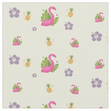 Beach Themed Flocking Flamingo Fabric