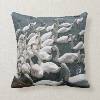 Flocking Swans Throw Pillow