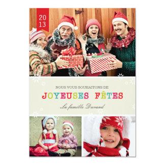 Flocons de Neige Brillants Carte de Noël 5x7 Paper Invitation Card