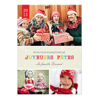 Flocons de Neige Brillants Carte de Noël