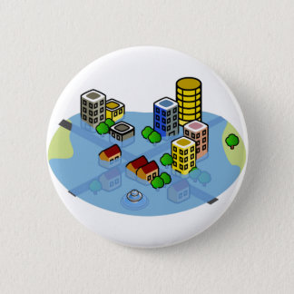 Flooded City Pinback Button