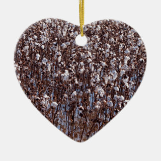 Flooded Cotton Crop Field Double-Sided Heart Ceramic Christmas Ornament