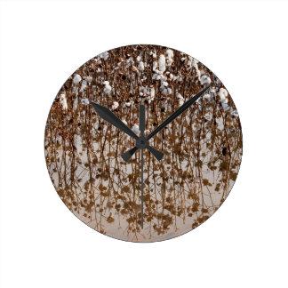 Flooded Cotton Gossypium Field Round Clock