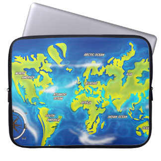 Flooded Earth Map Laptop Sleeve
