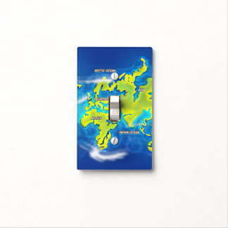 Flooded Earth Map Light Switch Cover