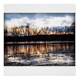 Flooded field on a Winters Eve Poster
