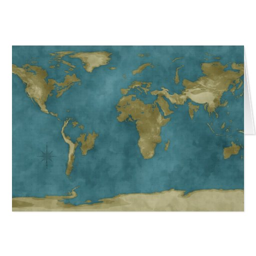 Flooded World Map Card