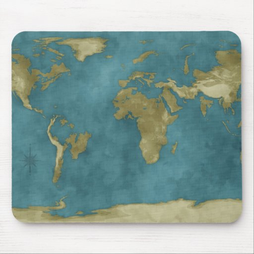 Flooded World Map Mouse Pad