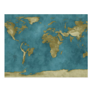 Flooded World Map Postcards