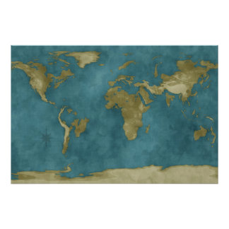 Flooded World Map Poster