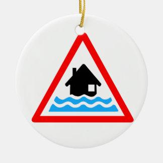 Flooding Warning Ceramic Ornament