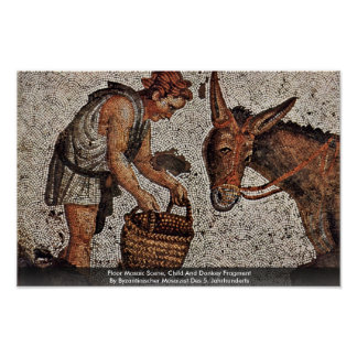 Floor Mosaic Scene, Child And Donkey Fragment Print