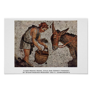 Floor Mosaic Scene, Child And Donkey Fragment Posters