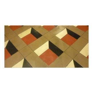 Floor Optical Illusion pattern tiles Las Vegas pho Photo Cards