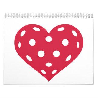 Floorball red heart wall calendars