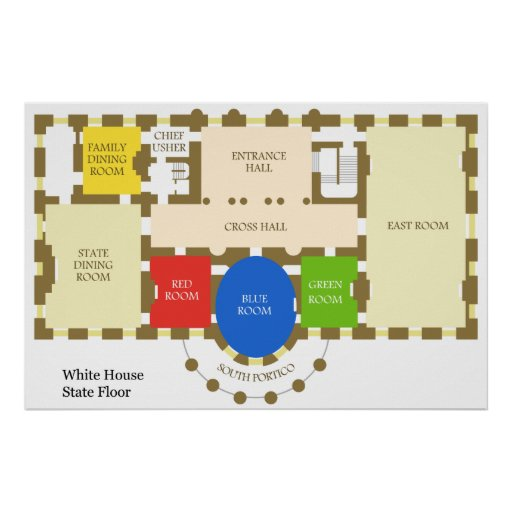 Floorplan Of The White House State Floor Diagram Poster