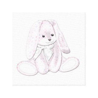 Floppy Baby Pink Plush Bunny Baby Canvas Art