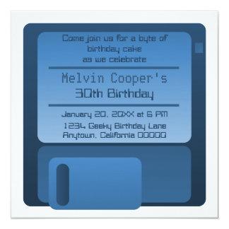 "Floppy Disc Geek Birthday Party Invite, Dark Blue 5.25"" Square Invitation Card"