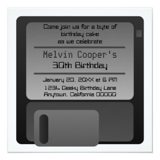Floppy Disc Geek Birthday Party Invite, Gray Card