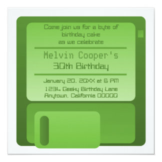Floppy Disc Geek Birthday Party Invite, Green Card