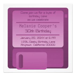 Floppy Disc Geek Birthday Party Invite, Purple