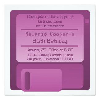 "Floppy Disc Geek Birthday Party Invite, Purple 5.25"" Square Invitation Card"
