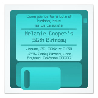 """Floppy Disc Geek Birthday Party Invite, Teal 5.25"""" Square Invitation Card"""