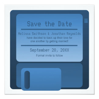 Floppy Disc Save the Date Announcement, Dark Blue Card