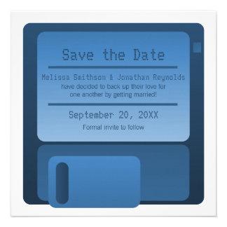Floppy Disc Save the Date Announcement, Dark Blue