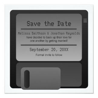 Floppy Disc Save the Date Announcement, Gray Card