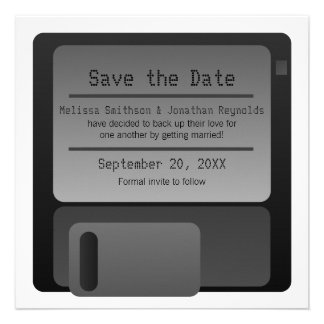 Floppy Disc Save the Date Announcement, Gray