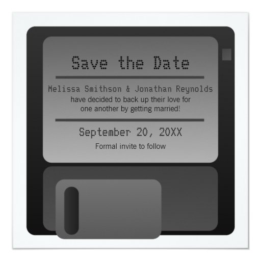"Floppy Disc Save the Date Announcement, Gray 5.25"" Square Invitation Card"