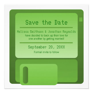 Floppy Disc Save the Date Announcement, Green