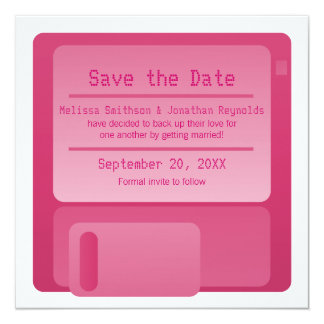 Floppy Disc Save the Date Announcement, Magenta Card