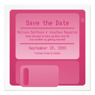 Floppy Disc Save the Date Announcement, Magenta