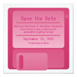"Floppy Disc Save the Date Announcement, Magenta 5.25"" Square Invitation Card"