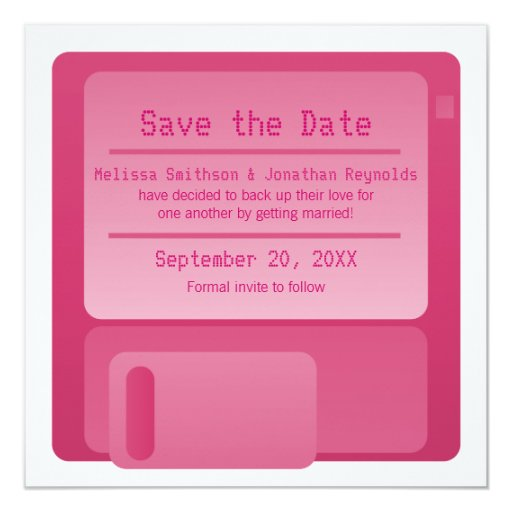 Floppy Disc Save the Date Announcement, Magenta 5.25x5.25 Square Paper Invitation Card