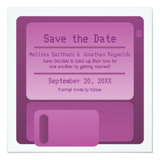 Floppy Disc Save the Date Announcement, Purple Card