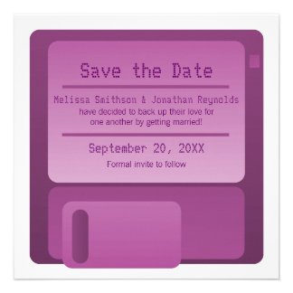 Floppy Disc Save the Date Announcement, Purple