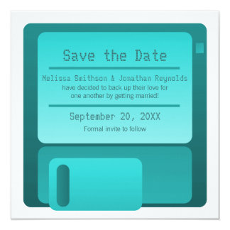 Floppy Disc Save the Date Announcement, Turquoise Card