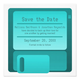 Floppy Disc Save the Date Announcement, Turquoise
