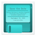 "Floppy Disc Save the Date Announcement, Turquoise 5.25"" Square Invitation Card"
