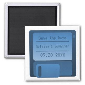 Floppy Disc Save the Date Magnet, Dark Blue
