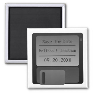Floppy Disc Save the Date Magnet, Gray