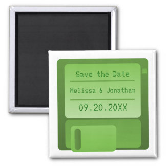 Floppy Disc Save the Date Magnet, Green Magnet