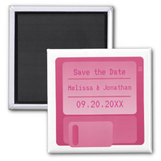 Floppy Disc Save the Date Magnet, Magenta