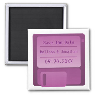 Floppy Disc Save the Date Magnet, Purple